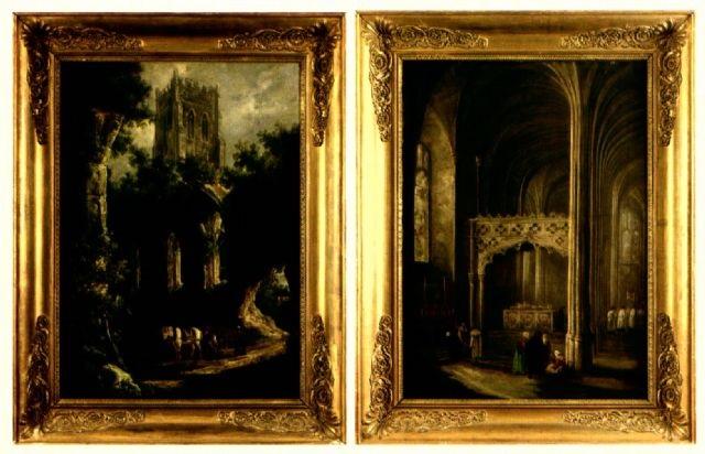 paysage aux ruines gothiques animé de personnages intérieur déglise gothique animé de personnages 2 works by henry milbourne