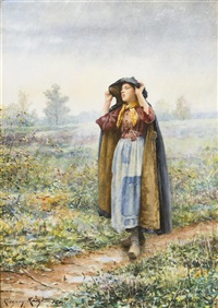 walking through the field by daniel ridgway knight