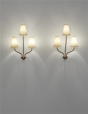 persane three armed wall lights pair by jean royère