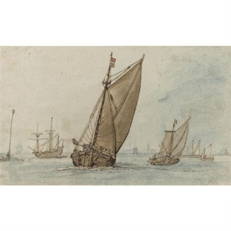 small vessels on a calm sea with a jetty to the left and a town on the horizon by hendrick avercamp