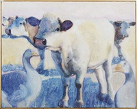 untitled (cows and geese) by michael godey