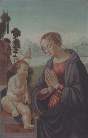 the madonna adoring the child by domenico ghirlandaio