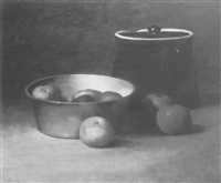 still life with apples and a brown ceramic jug by franklin harrison miller