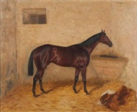 portrait du cheval champignol à l'écurie by karl georg arsenius