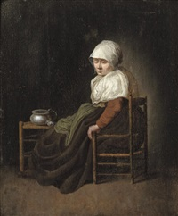 a woman seated in a chair by a stool with a pewter pot by jacobus vrel