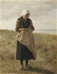 a woman in the dunes by philip lodewijk jacob frederik sadée