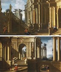 prospettiva architettonica con figure by pietro francesco garoli