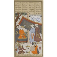 khosrow parvis on the throne of the joyous occasion of new year (from firdausi's shahnama) by muin musavvir