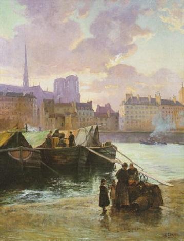soleil couchant bateaux à quai devant notre dame by gaston cornil