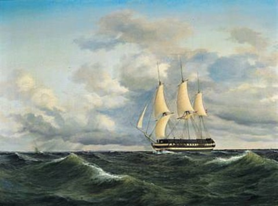 et linieskib i mersseilskuling by daniel hermann anton melbye