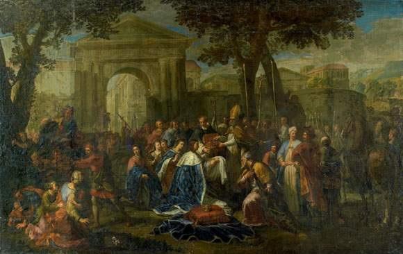 saint louis accompagné de la famille royale reçoit la couronne dépines des mains dun prélat by jean frère andré andré