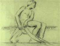 figure study for the whitehall reid house, new york by dennis miller bunker