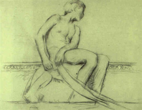 figure study for the whitehall reid house new york by dennis miller bunker