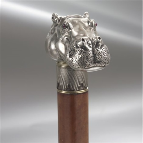 hippopotamus head cane handle by julius alexandrowitsch rappoport