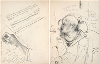 cahier de 13 dessins originaux by jean cocteau