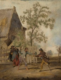 two beggars fighting near a farmhouse by margarethe de heer
