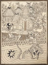 mythological scene, possibly from the ramayana top, a hero (laksamana) shoots an arrow at a deer watched by a king (rama) bottom, the king fights with a serpent in the water, and an elephant fish (gajahmina) also appears by dewa nyoman leper