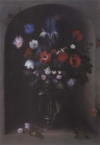 stillleben mit blumen in einer gläsernen vase by johannes baers