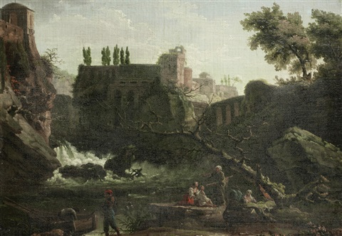 figures seated before an italianate landscape, with a waterfall in the distance and a villa on the horizon by carlo bonavia
