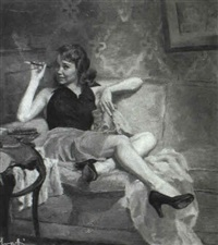 woman with cigarette holder and green nail polish lounging by james avati