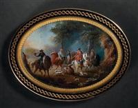 le roi louis xv à la chasse, hallali de cerf dans une clairière by louis nicolas van blarenberghe
