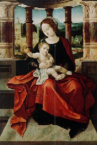 virgin and child seated on a terrace by flemish school-brussels (16)