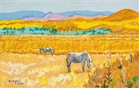 paisaje con caballos by francisco san josé
