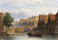 a canal in a busy dutch town by eduard alexander hilverdink