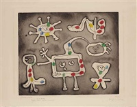 one plate from: serie i by joan miró