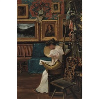 mrs. william merritt chase in chase's studio by addison thomas millar
