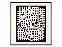 composition black and white by victor vasarely