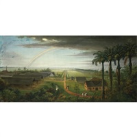 a rainbow over a plantation by joshua, r.a. bryant