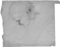 study of the head of a bearded man looking down by benjamin robert haydon