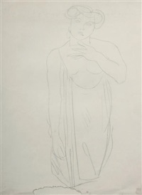 femme vêtue et assise de face, un bras replié by auguste rodin