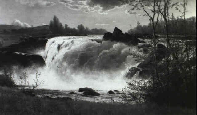 waterfall by constant auguste de l aubiniere