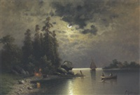 eine mondnacht am see by f. koltmann