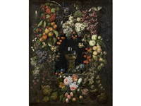 a roemer in a garland of fruit and flowers by ottmar elliger the elder