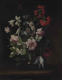 still life of vase of flowers sitting upon a ledge and untitled (2 works) by continental school (18)