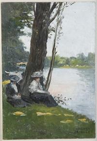 femmes assises au bord de l'eau (+ 2 others; 3 works) by enrique atalaya