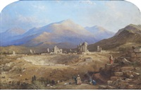 the ancient church of st. john with the citadel. pergamos (+ the ruins of laodicea; pair) by thomas allom