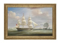 the hon. east india company's ship inglis in two positions in the channel off dover by william john huggins