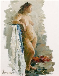 standing female nude by vasili i. gurin
