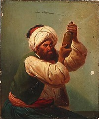 an arab looks at the content of a bottle by niels simonsen