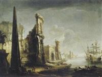 capriccio mit römischen ruinen an einem seehafen by francesco albotti