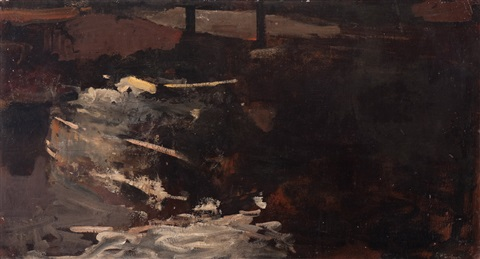 moored boats in winter in an amsterdam canal by george hendrik breitner