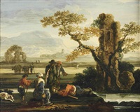 an italianate landscape with herdsmen resting near a ruined tower by jan de momper