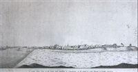 north west view of the town and harbour of louisbourg on cape breton by thomas wright