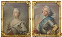 två portätt föreställande kung fredrik v (1723-1766) och drottning juliana maria av braunschweig-wolfenbüttel (1729-1796), danmark by anonymous (18)