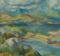 storm clouds over skye by denis frederic neal peploe