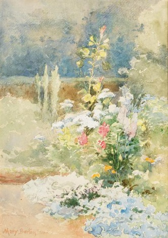 a border of summer flowers by mary georgina barton
